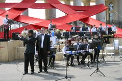 Victory Day celebration in Moscow. Orchestra plays in Gorly park. Royalty Free Stock Photo