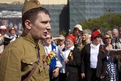 Victory Day celebration in Moscow. People sing war songs. Royalty Free Stock Photography