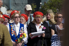 Victory Day celebration in Moscow. People sing war songs. Royalty Free Stock Photos