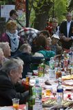 Victory Day celebration in Moscow. People sit at table. Stock Images