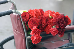Victory Day celebration in Moscow. Red roses and carnations Royalty Free Stock Photography