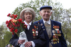 Victory Day celebration in Moscow. Senior couple portrait Royalty Free Stock Images