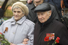 Victory Day celebration in Moscow. Senior woman and man portrait Royalty Free Stock Images