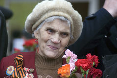 Victory Day celebration in Moscow. Senior woman portrait Royalty Free Stock Image