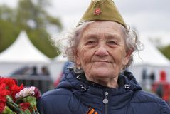 Victory Day celebration in Moscow. Senior woman portrait Royalty Free Stock Images
