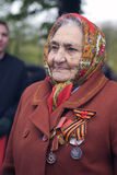 Victory Day celebration in Moscow. Senior woman portrait Stock Photography
