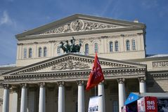Victory Day celebration in Moscow. View of Bolshoy theater. Royalty Free Stock Photos