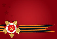 Victory Day celebration. Red postcard with St. George order ribbons and medal stock illustration