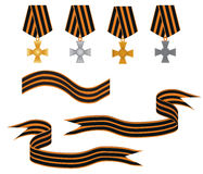 Victory Day celebration. Set the St. George order ribbons and medals vector illustration