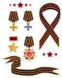 Victory Day celebration. Set of the St. George order ribbons and medals stock illustration