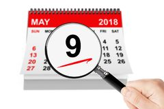 Victory Day Concept. 9 may 2018 calendar with magnifier. On a white background Stock Images