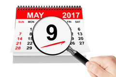 Victory Day Concept. 9 may 2017 calendar with magnifier. On a white background Stock Photography