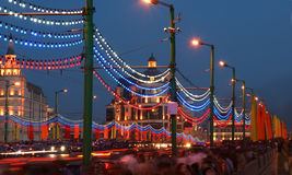 Victory Day decoration of the bridge near the Red Square Stock Images