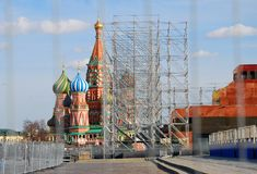 Victory Day decoration on the Red Square Royalty Free Stock Photo