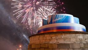 Victory Day decoration on the Red Square and fireworks, Moscow, Russia stock footage