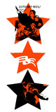 Victory Day. Feast on May 9th. Red stars with Soviet silhouettes calls Royalty Free Stock Image