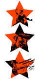 Victory Day. Feast on May 9th. Red stars with Soviet silhouettes calls Royalty Free Stock Images