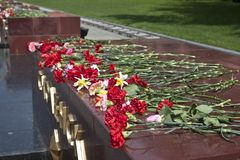 Victory Day. Flowers in memory of World War. Flowers on the Tomb of the Unknown Soldier in Alexander Garden, Moscow Stock Photography
