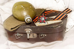 Victory Day. George Ribbon, Order of the Red Star, old photos, f Royalty Free Stock Photo