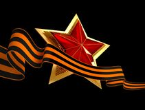 9 May. Victory Day. Red star 3d. Isolated background. Victory Day is a holiday of the victory of the Red Army and the Soviet people over Nazi Germany in the Stock Photos