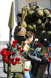Victory day installation. Red carnations. Royalty Free Stock Photo