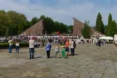 Victory Day (9 May) in Treptower Park. Berlin, Germany. BERLIN - MAY 09, 2015: Victory Day. Soviet War Memorial (Treptower Park Stock Photo
