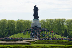Victory Day (9 May) in Treptower Park. Berlin, Germany. BERLIN - MAY 09, 2015: Victory Day in Treptower Park. Soviet War Memorial, and numerous guests and Stock Photo