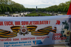 Victory Day (9 May) in Treptower Park. Berlin, Germany. BERLIN - MAY 09, 2015: Victory Day in Treptower Park. Soviet War Memorial, and numerous guests and Royalty Free Stock Photos