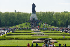 Victory Day (9 May) in Treptower Park. Berlin, Germany. BERLIN - MAY 09, 2015: Victory Day in Treptower Park. Soviet War Memorial, and numerous guests and Royalty Free Stock Photo