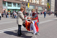 Victory Day in Moscow streets. Stock Photos