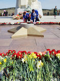 Victory day, near the Monument to soldiers dead in Second World war, Kemerovo city Royalty Free Stock Photo