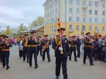 Victory Day-parade in Severodvinsk, Rusland royalty-vrije stock afbeeldingen