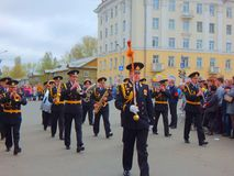 Victory Day parade in Severodvinsk, Russia royalty free stock images