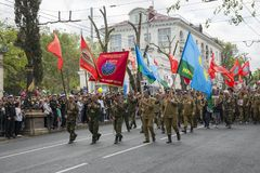 Victory Day-Parade in Sewastopol Stockfotos