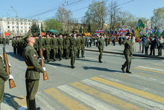 Victory Day Parade Tyumen Rússia Fotografia de Stock Royalty Free