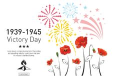 Victory Day poster. Victory Day in the Second World War. Red poppies on the background of festive fireworks. The text with the stars and eternal fire Stock Photo