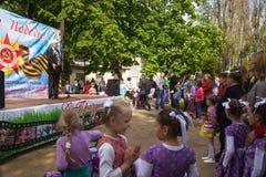 Victory Day que celebra en parque de disctrict ferroviario de la ciudad Fotografía de archivo libre de regalías