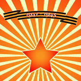 Victory Day Red Star on background of rays. Vector Royalty Free Stock Photo
