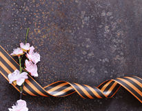 Victory Day ribbon and spring flowers holiday Stock Images