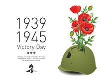 Victory Day poppies poster. Victory Day in the Second World War. Red poppies grow from pierced military helmet Royalty Free Stock Photo