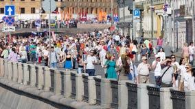 Victory Day sur le remblai de la rivière de Moskva, Russie Photos stock
