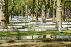 Victory Day in Treptower Park. Berlin. BERLIN - MAY 09, 2016: Victory Day in Treptower Park (Soviet war memorial). Mass grave of fallen soldiers and officers who Stock Photos