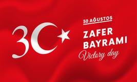 Victory Day Turkey-Fahne Vektor Stockfotografie