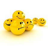 Victory and Defeat. Smiling icon carried by angry ones cheered by the crowd Stock Photos