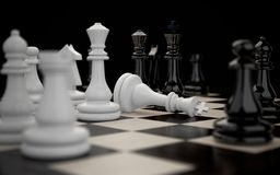 Victory and defeat in chess. Chessboard with figures during the game close-up on a dark background. Victory and defeat stock illustration