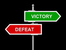 Victory and defeat road signs. 3d render of victory and defeat road signs on black background Royalty Free Stock Photos