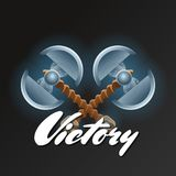 Victory element with crossed two blades axes Stock Image