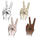 Victory fingers gesture set. Set of victory gesture drawn in different color variations Stock Photography
