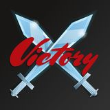 Victory game element with crossed swords Royalty Free Stock Photos