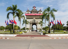 Victory gate in Vientiane, the capital of Laos Royalty Free Stock Images